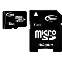 Карта памяти MicroSDHC(class 10) 16Gb Team+adapter (TUSDH16GCL1003)